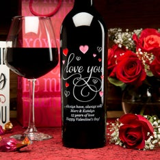 Love You Hearts Personalized Wine Bottle