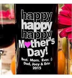 Triple Happy Mothers Day Personalized Wine Bottle