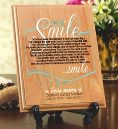 Smile Memorial Wood Plaque