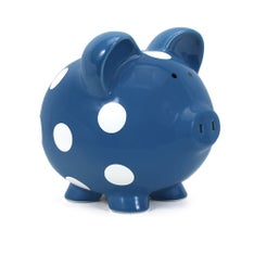 Personalized Hand-Painted Color Piggy Bank with White Dots - Dark Blue