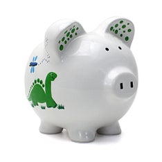 Personalized Hand-Painted Dinosaur Piggy Bank