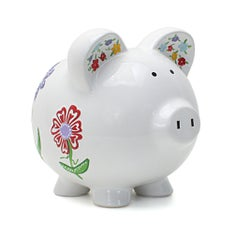 Personalized Hand-Painted Flower Piggy Bank
