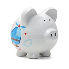 Personalized Hand-Painted Helicopter Piggy Bank