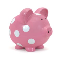 Personalized Hand-Painted Piggy Bank with White Dots - Dark Pink