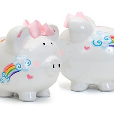 Personalized Hand-Painted Rainbow Piggy Bank