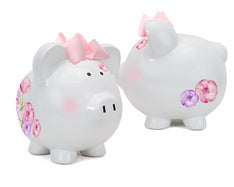 Personalized Pretty Posies Hand-Painted Piggy Bank