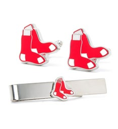Boston Red Sox Cufflinks and Tie Bar Gift Set