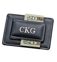 Personalized Leather Card Holder & Money Clip