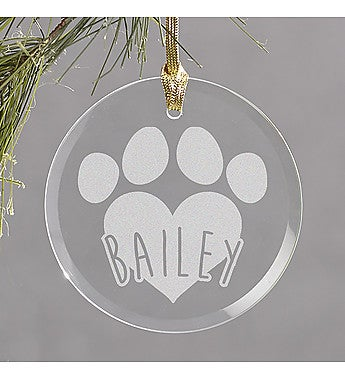 Engraved Pet Round Glass Ornament