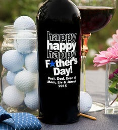Personalized Triple Happy Fathers Day Star Wine