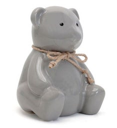 Personalized Teddy Grey Bear Piggy Bank