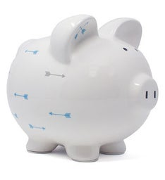 Personalized Blue Arrow Minded Piggy Bank
