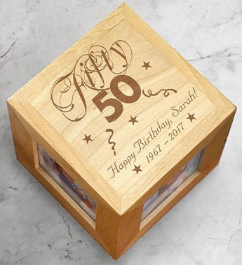 Engraved Birthday Photo Cube