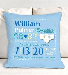 Baby Boy Birth Personalized Announcement Throw Pillow