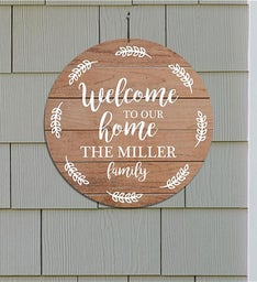 Personalized Welcome Leaves Round Sign