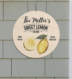 Personalized Sweet Lemon Farm Round Sign
