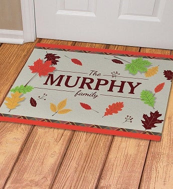 Personalized Fall Leaves Doormat