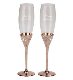 Personalized Galaxy Rose Gold Flutes
