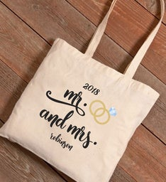 Personalized Mr  Mrs Wedding Rings Canvas Tote