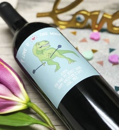 Personalized Love-Saur Labeled Wine