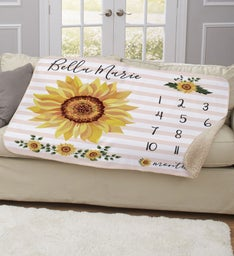 Personalized Sunflower Baby Milestone Blanket