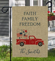 Personalized Faith Family Freedom Garden Flag