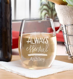 Birthdays Are Always Essential Stemless Wine Glass