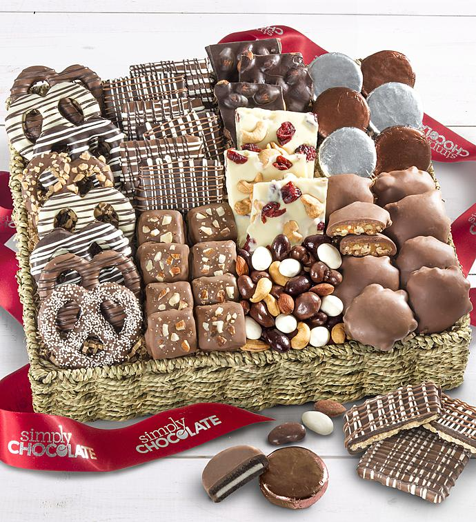 Simply Chocolate Deluxe Nuts  Confections Basket