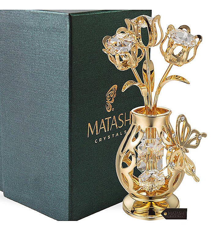 Gold Plated Flower Ornament in a Vase