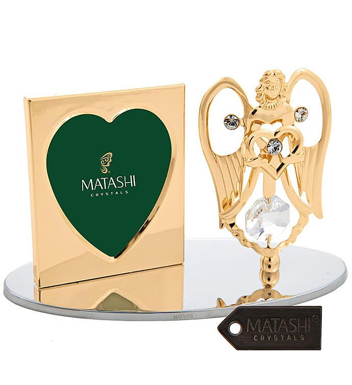 Gold Plated Angel Holding a Heart Picture Frame