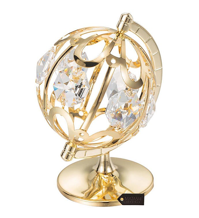 Gold Plated Crystal Studded Spinning Globe