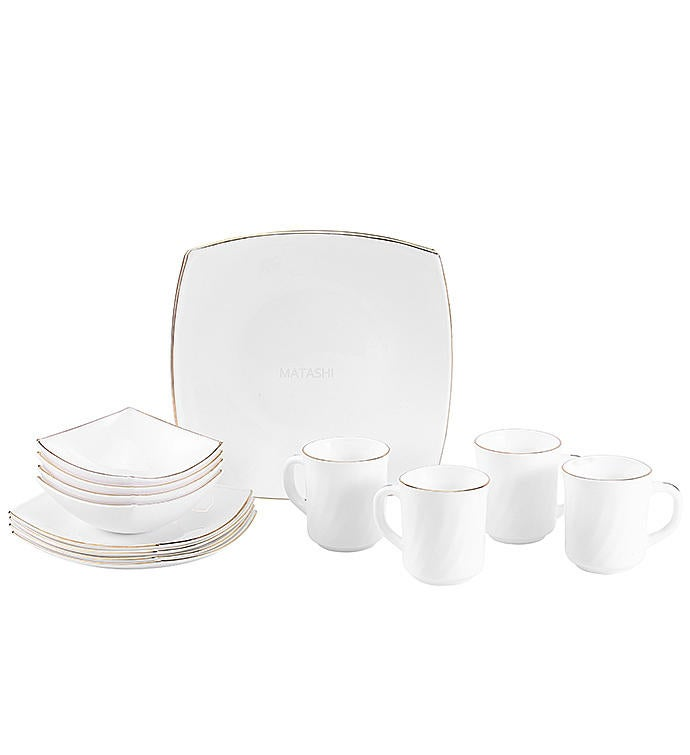 Gold Rimmed Opal Glass 16-Piece Dinnerware Set