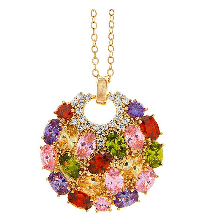 Multi-Colored Crystal Pendant Necklace