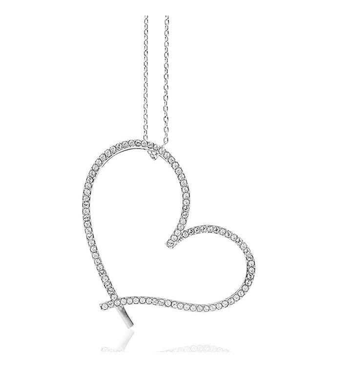 Heart Necklace with Clear Crystals