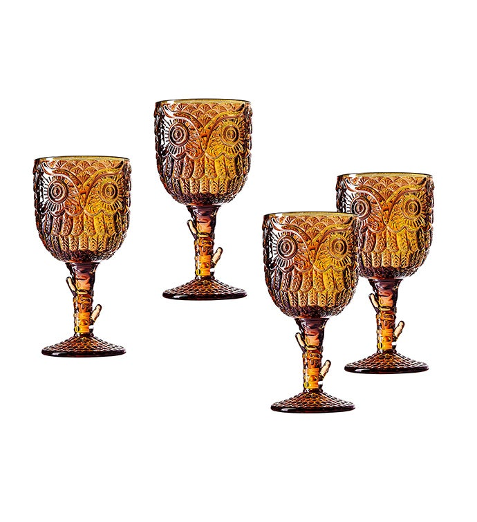 Owl Goblets Set of 4