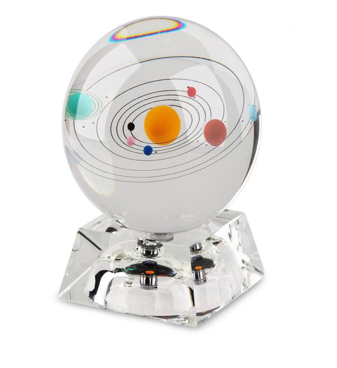 3D Crystal Paperweight with Galaxy Solar System