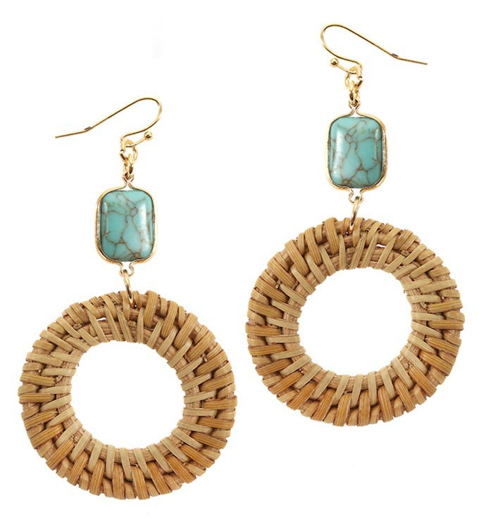 Stone Turquoise and Rattan Disc Earring