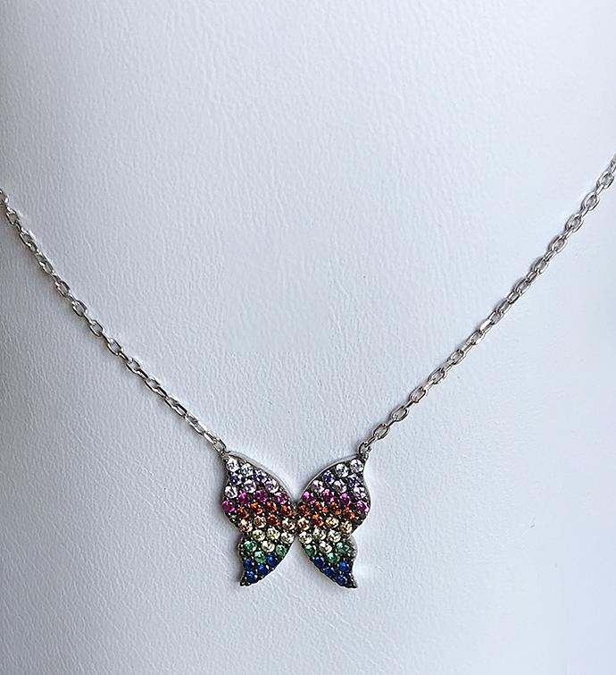 Sterling Rainbow Butterfly Necklace