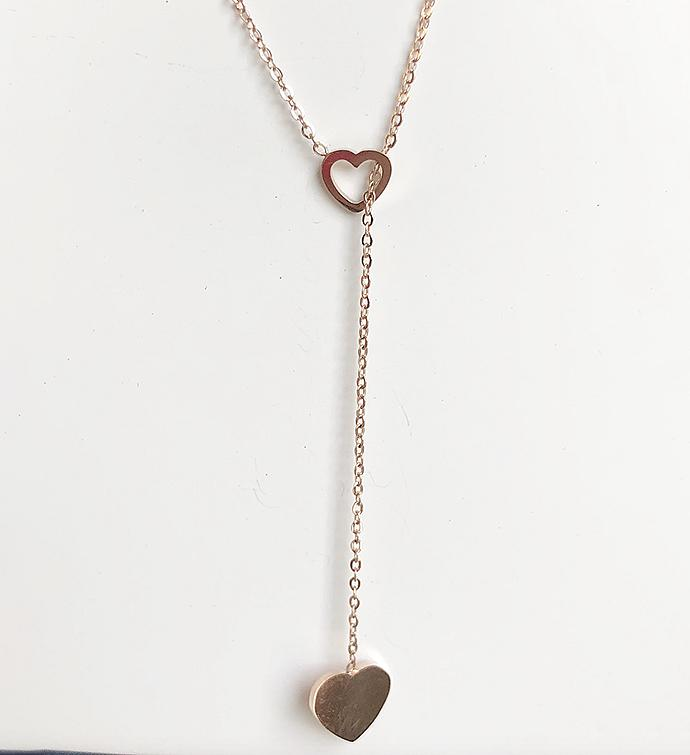 Rose Gold Double Heart Lariat Necklace