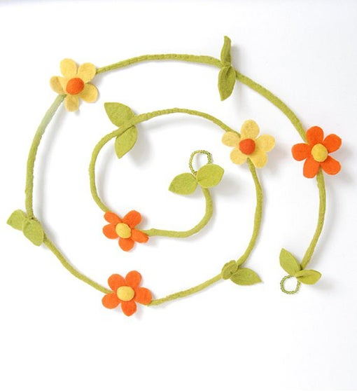 Hand Felted Wool Garland - Yellow and Orange Flowers - 6'