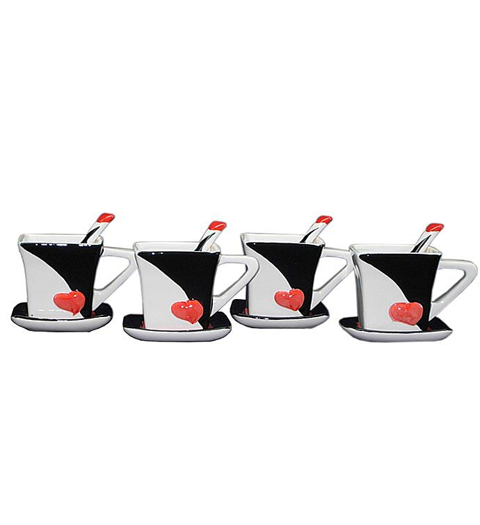Black and White Mug and Saucer Set