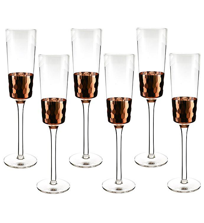 Copper Finish Glass Set -Flute