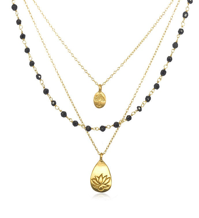 Onyx Gold Lotus Tree Triple Chain Necklace