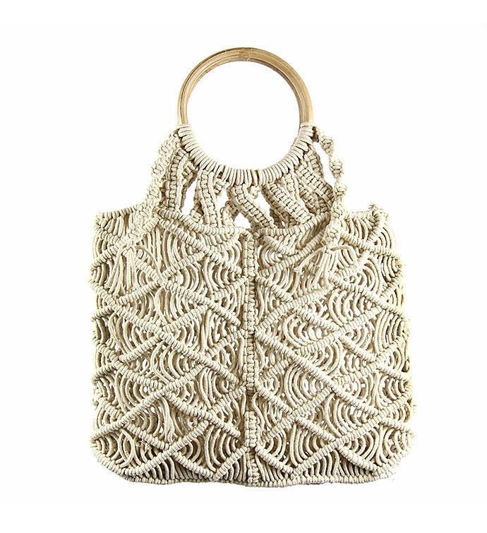 Handwoven Macrame Bag With Wooden Handle