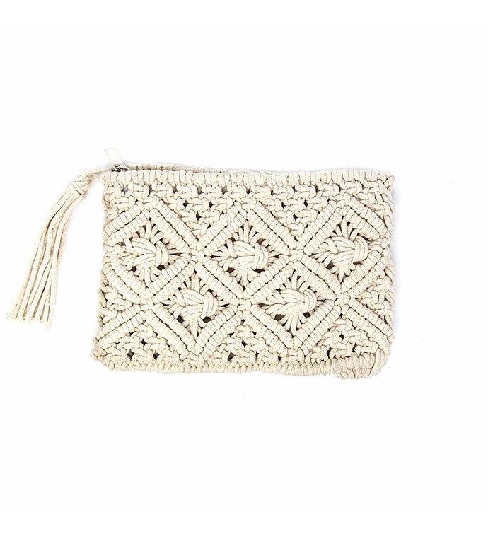 Handwoven Macrame Clutch With Tassel Natural