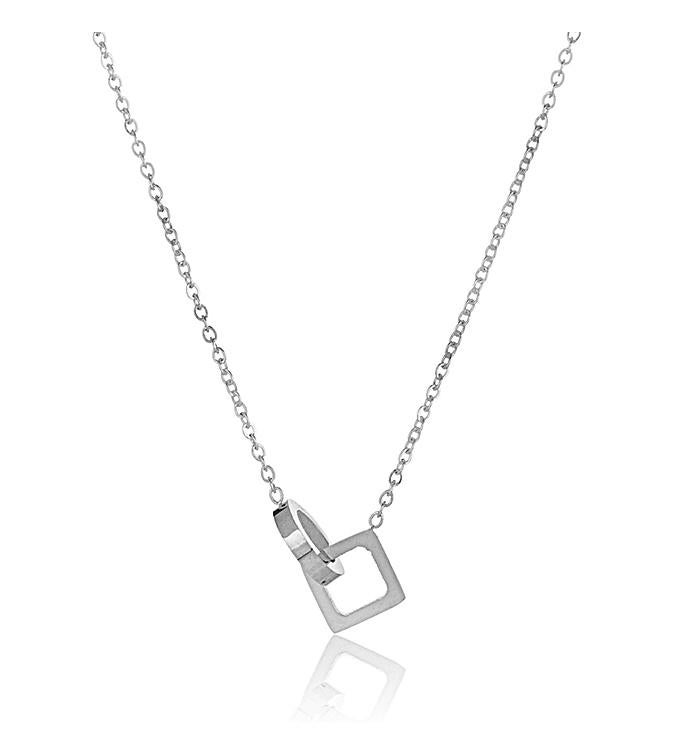 Intertwined Circle  Square Stainless Steel Pendant Necklace