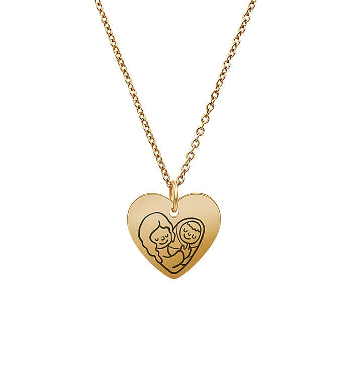 Anavia - Mom Hold Me Heart Pendant Necklace