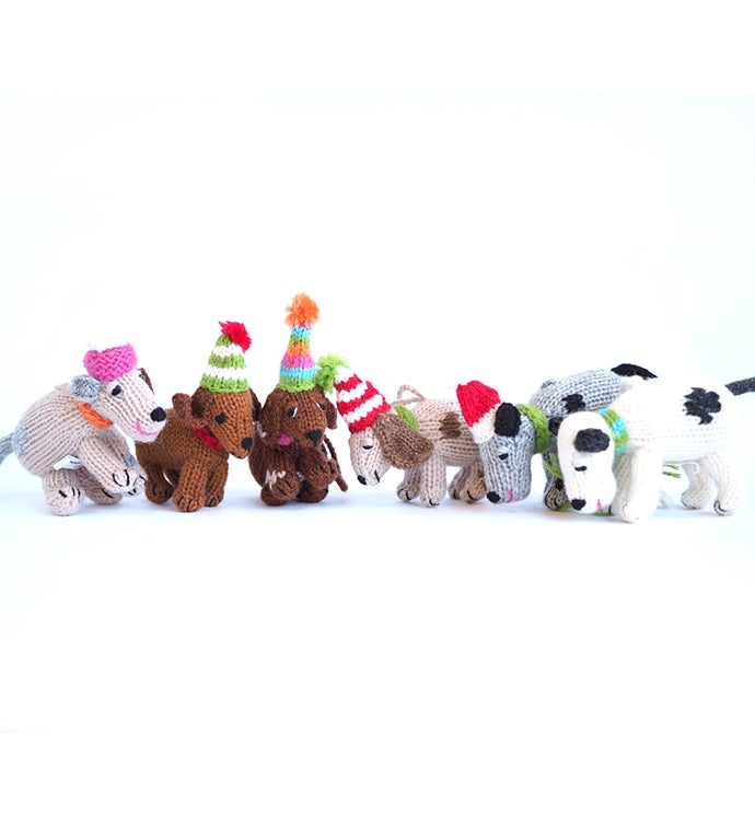 Knit Dog Ornaments - Set of Six