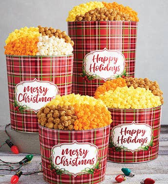 Holly Plaid Happy Holidays Popcorn Tins