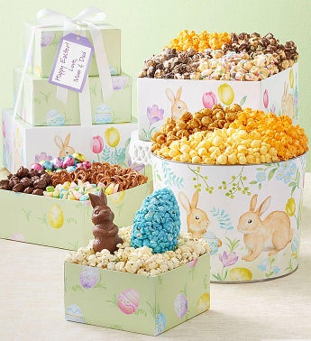 3-Tier Garden Bunnies Tower and Tin